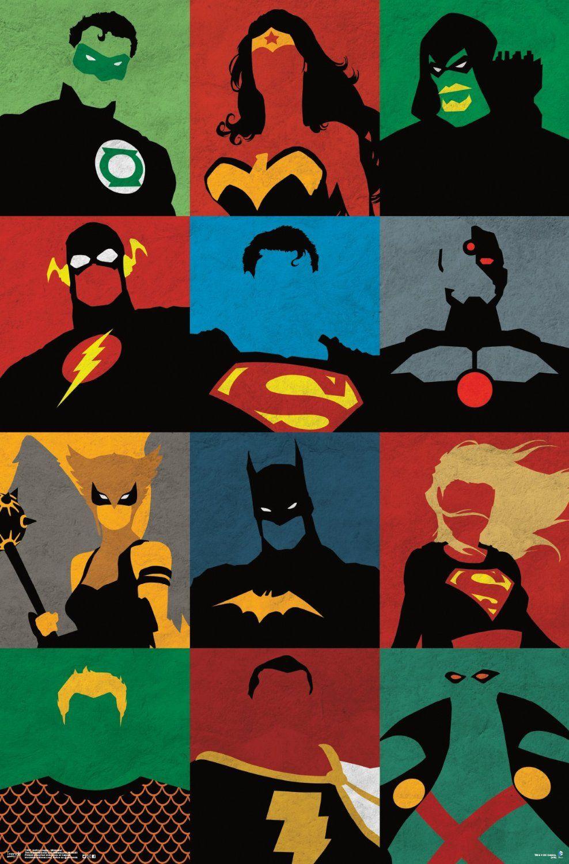 Trends international justice league minimalist - Poster super heros ...