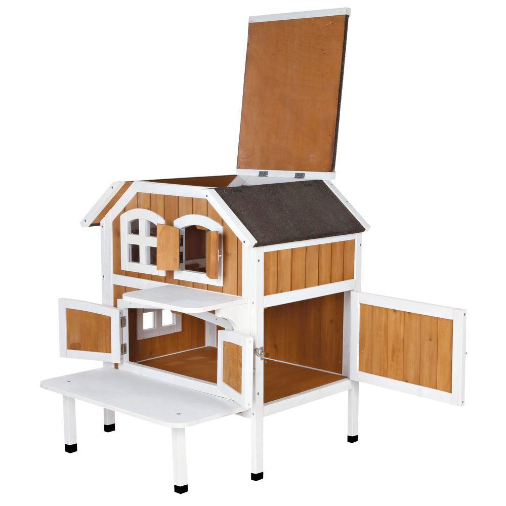 30 5 in l x 22 75 in w x 35 25 in h 2 story wooden cat cottage