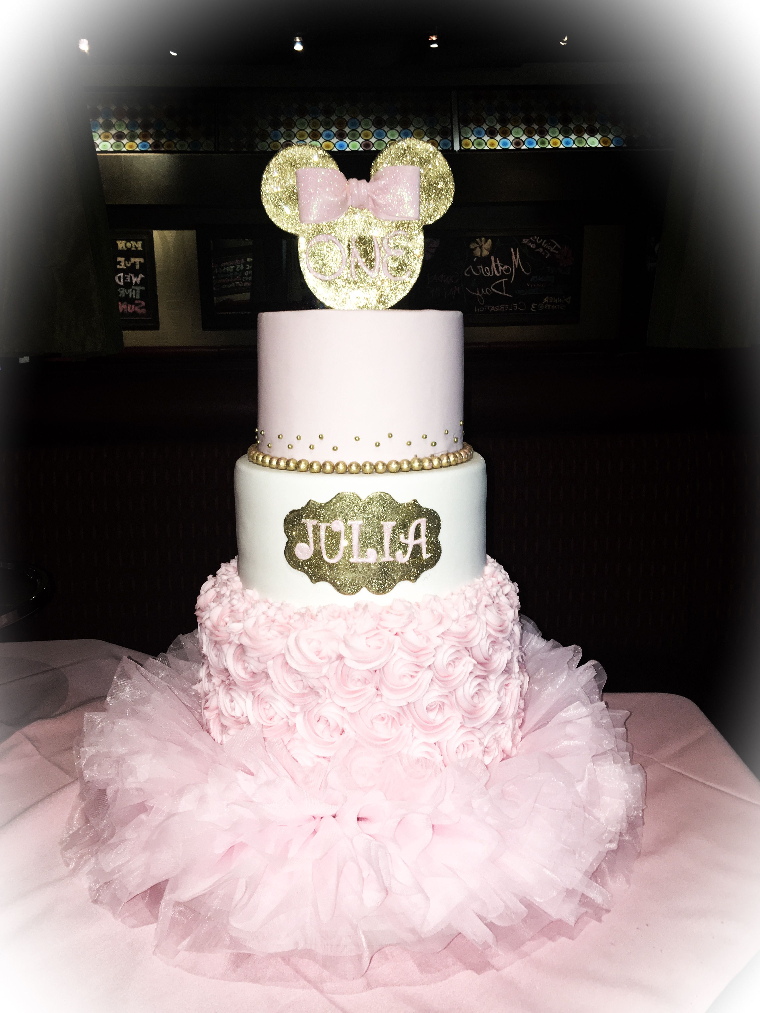 Minnie Mouse Pink And Gold 1st Birthday Cake With Images