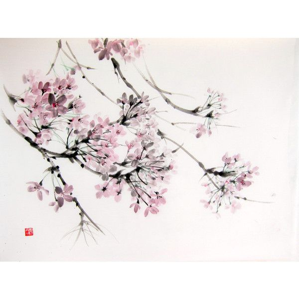 Cherry Blossom In The Wind Japanese Ink Painting On Rice Paper