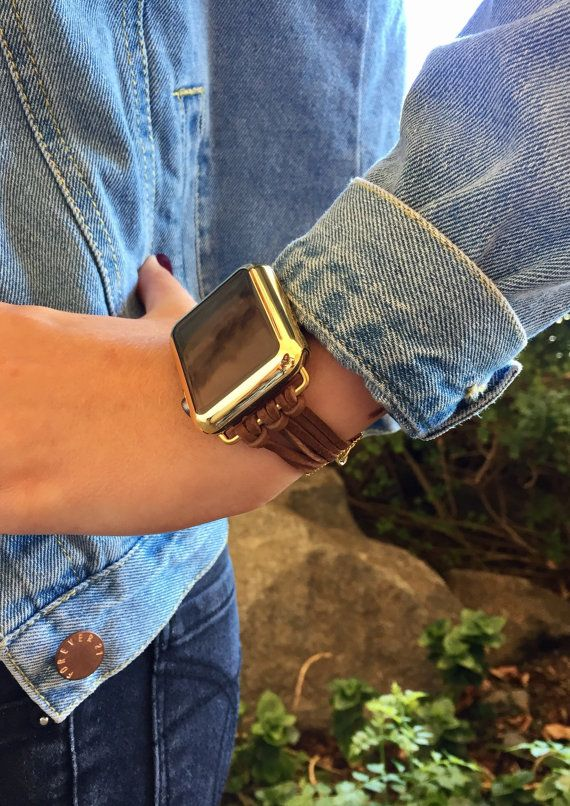 2b71fd3fd2c Apple Watch iWatch Band 38mm 42mm Women Bands Case Bracelet BROWN Suede  Leather Strapy Gold Adapters Band Cover Womens 38 42 TimeKitsUSA