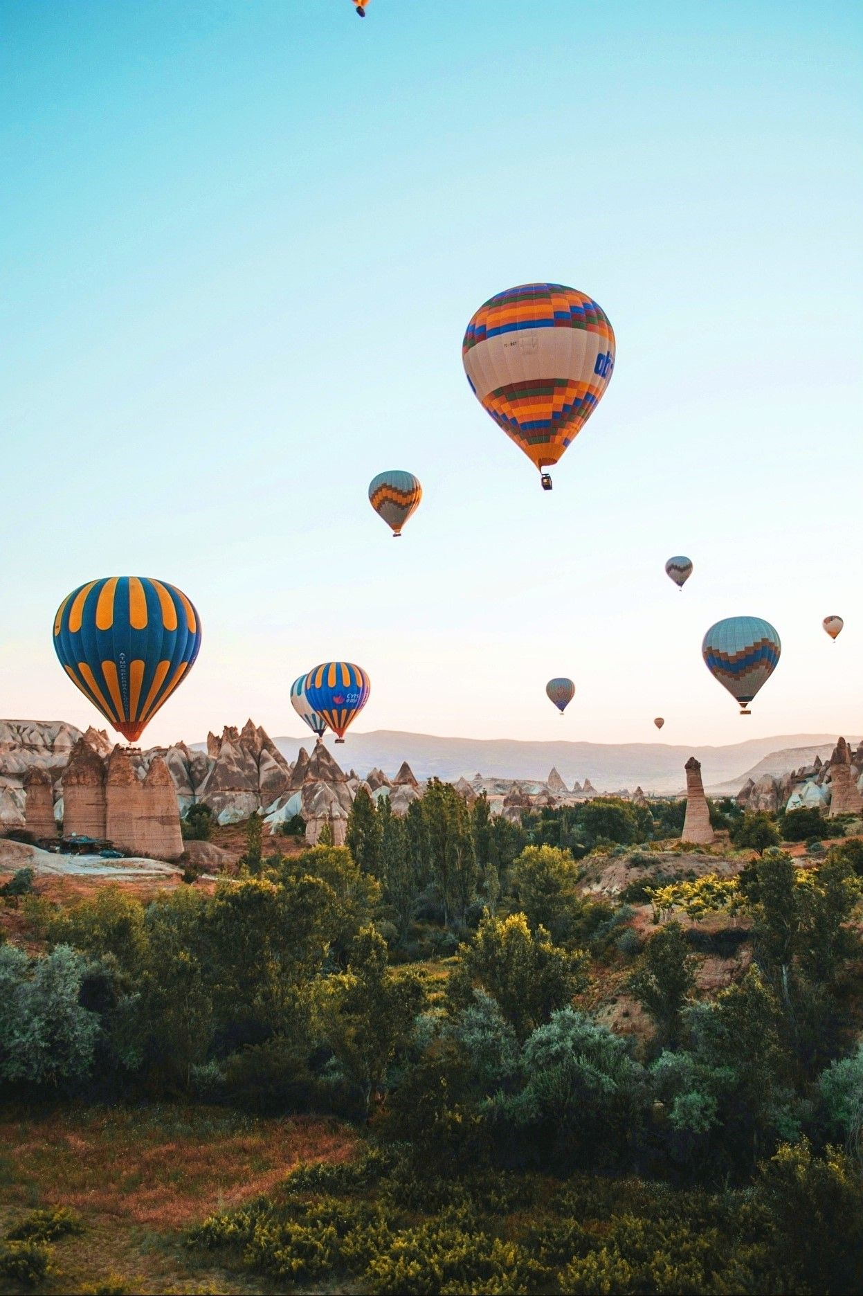 Hotair balloons flying over Cappadocia Turkey. Photograph