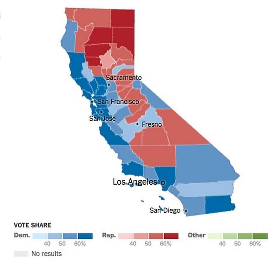 This map shows how California counties voted in the 2016