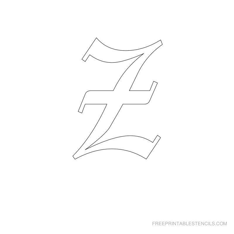 Printable Old English Alphabet Stencil Z | Alphabet ... Old English Numbers Printable Free