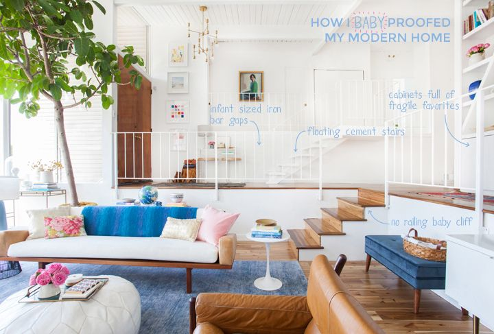 How I Baby Proofed My House Emily Henderson Sunken Living Room Emily Henderson Living Room Vintage Living Room