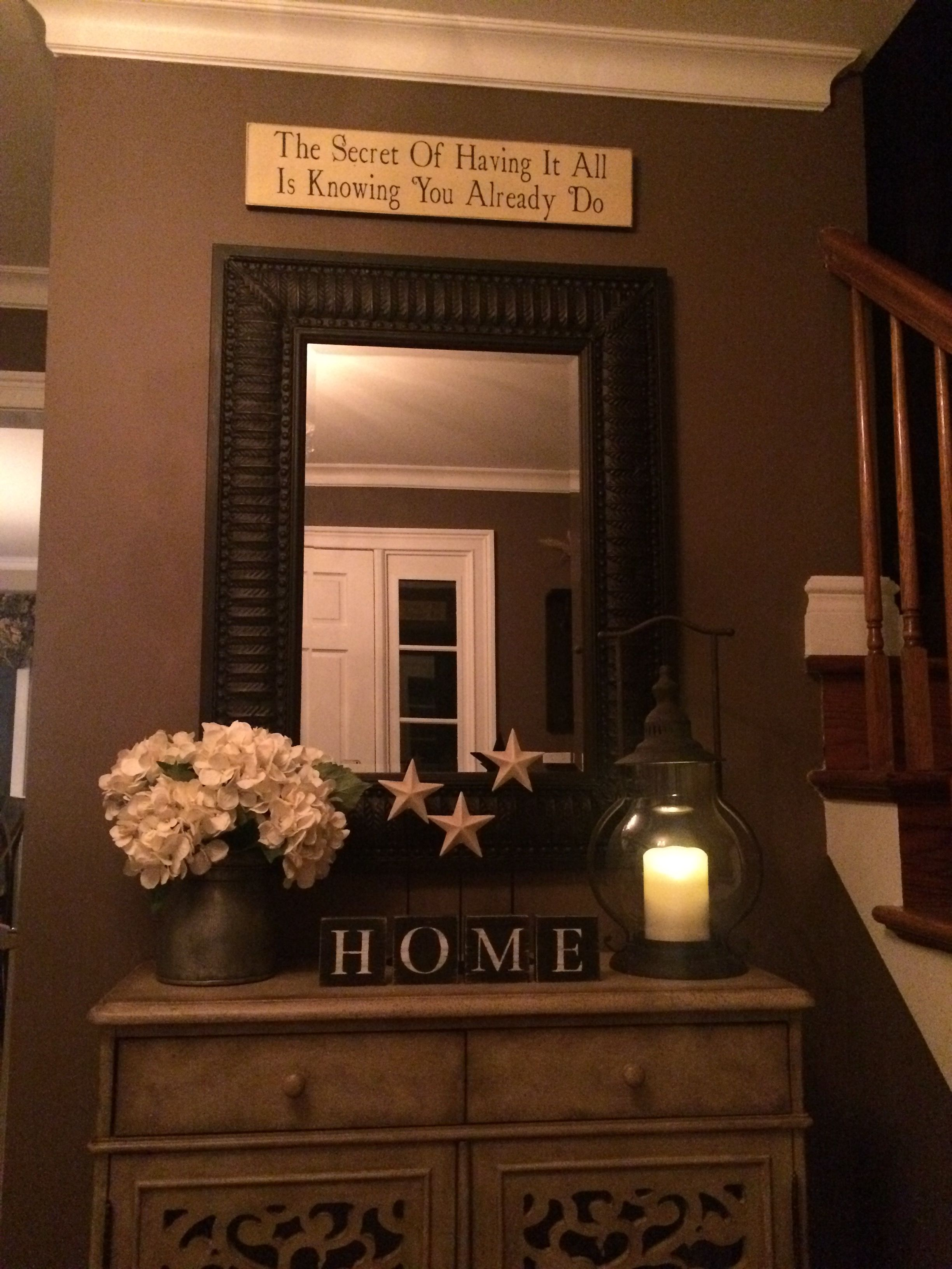 Just redecorated the foyer Love this entryway chest from Hooker