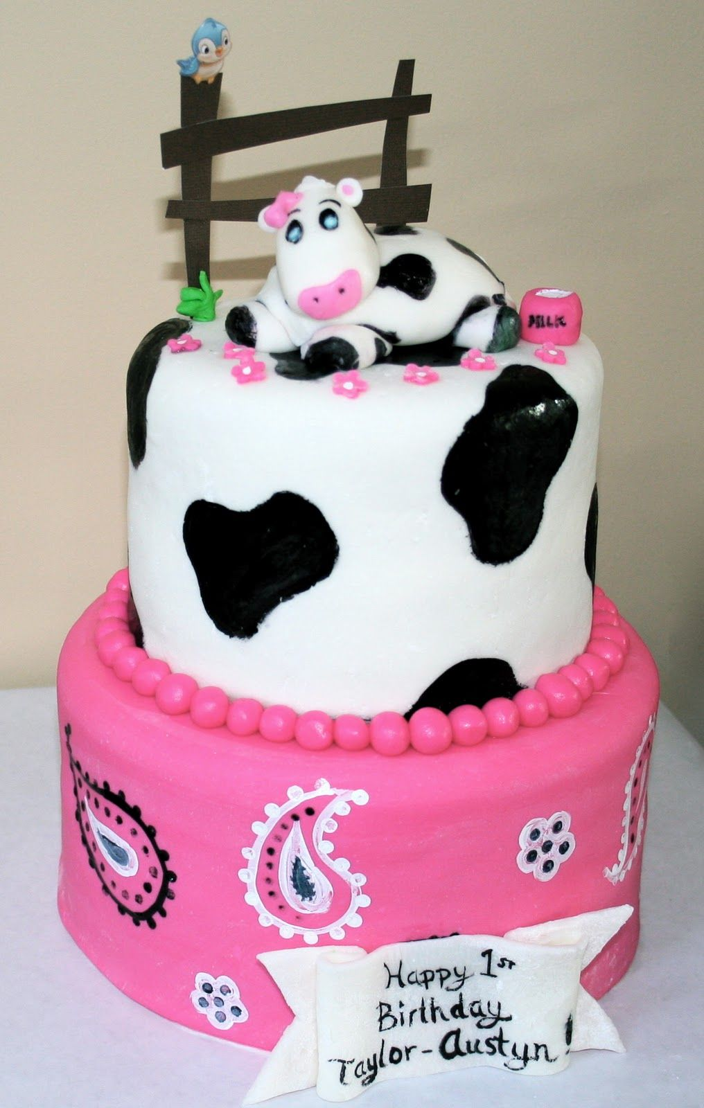 Fantastic This Cow Themed Cake To Celebrate Miss Taylor Austyns First Funny Birthday Cards Online Overcheapnameinfo