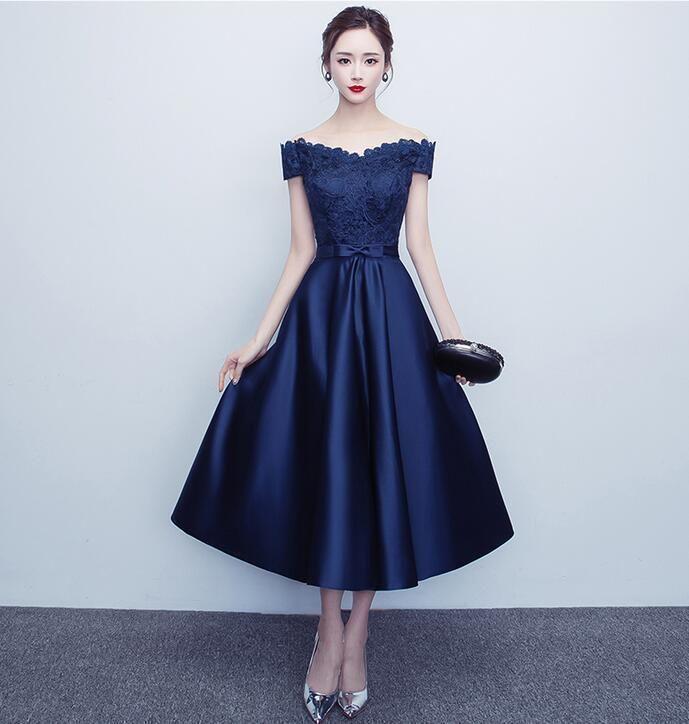 60e7ff8b3884 Women Elegant Lace Floral Bowknot Mid Long Dress Prom Party Evening Dress R
