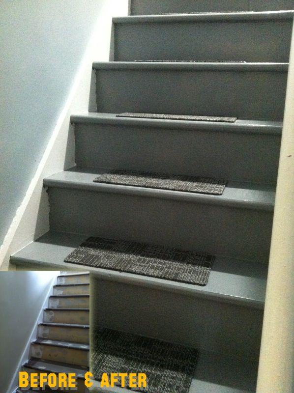 Took Off The Nasty Carpet And Replace It With Some Fresh Paint And Tile Carpet  Pieces On Each Step.