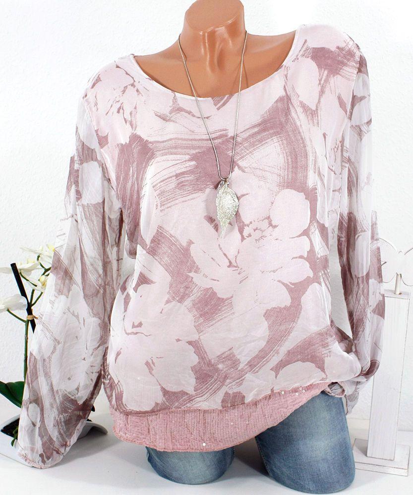 Seide Italy Tunika Bluse Oversize Blumen Pailletten 38 40