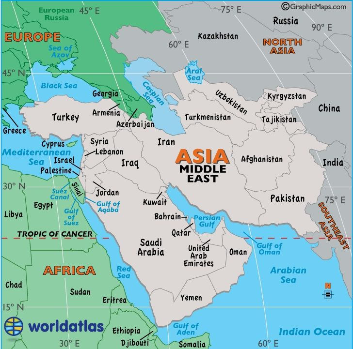 Printable Map Asia For Kids large map of middle east easy to read