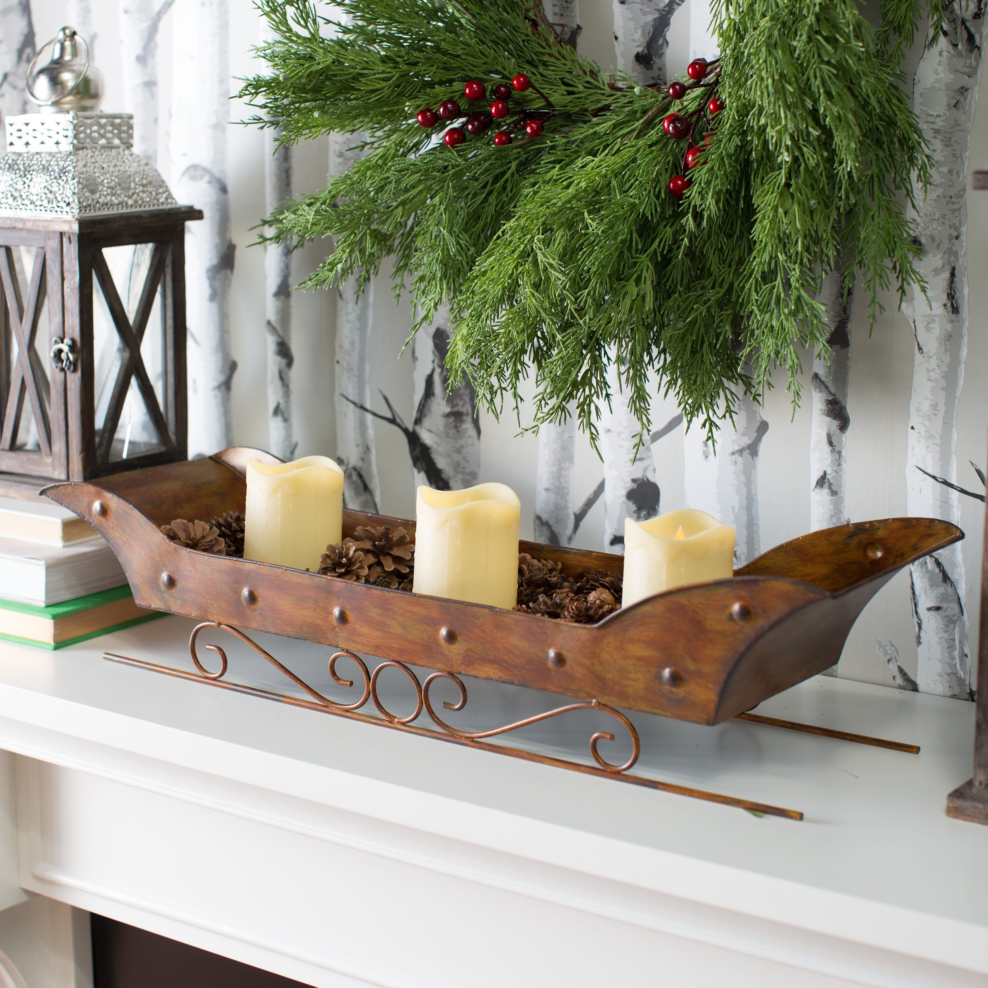 Woodland Colors Metal Sleigh Centerpiece with Pinecones and LED