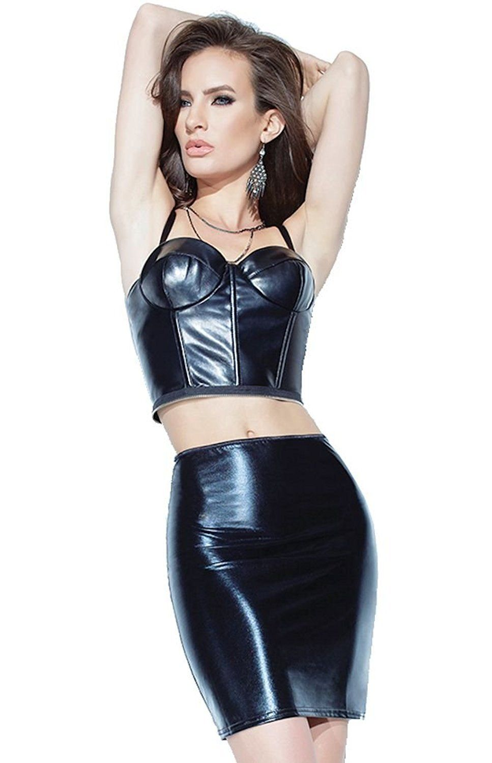63eb56f66 Black faux leather peplum corset with high waist mini skirt 2 piece set. By  Coquette. High waist skirt is rubber coated wet look spandex Bustier is  matte ...