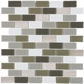 Elida Ceramica Glass Mosaic Blended Foundations Mixed Material (Stone and Glass) Mosaic Random Indoor/Outdoor Wall Tile (Common: 12-in x 12-in; Actual: 10.75-in x 11.75-in)