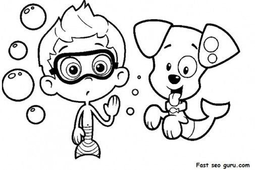 Printable Bubble Guppies Nonny And Bubble Puppy Coloring Pages   Printable  Coloring Pages For Kids