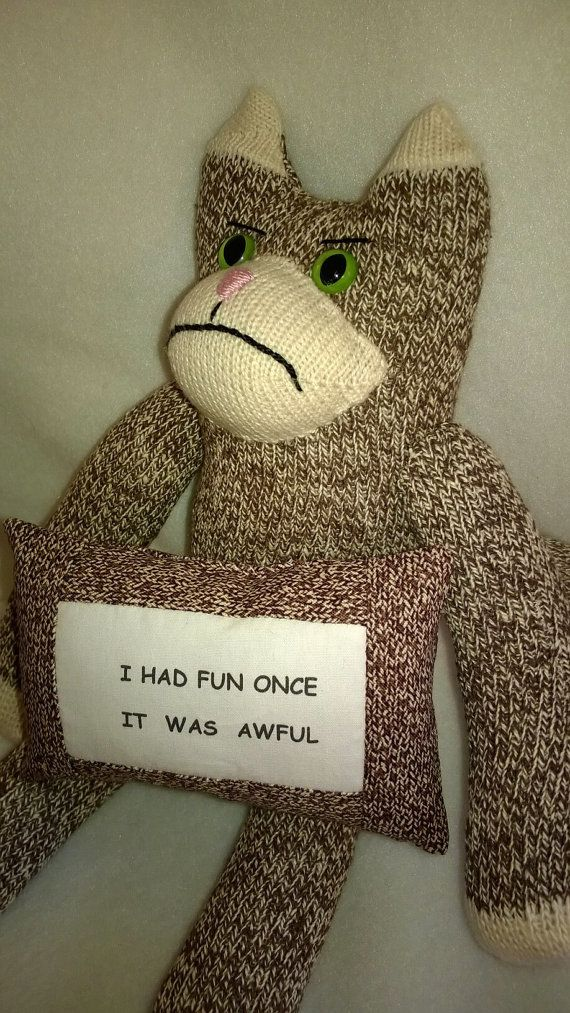 Grumpy Cat Sock Monkey With Quote Pillow By Sockmonkeyangel