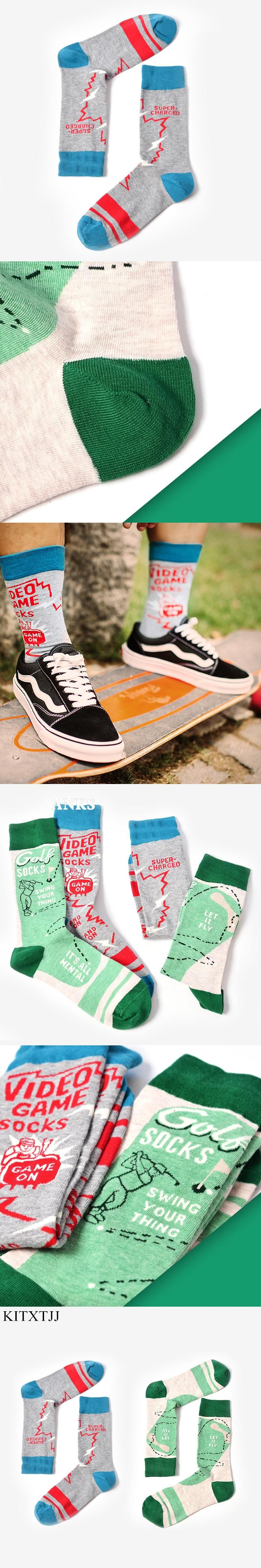 Casual Fashion Art Socks Men Cotton Crew Long Letters Character