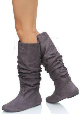 Soda Women Flat Slouchy Basic Knee High Boots Slip on Faux Suede Brown ZULUU