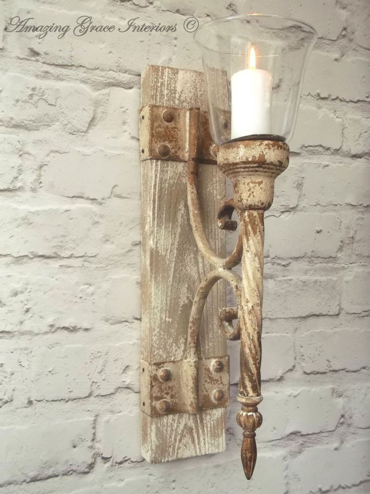 French Shabby Chic Wall Sconce Candle Holder Antique Vintage Style Wall Light Vintage Style Wall Lights Vintage Wall Sconces Candle Holder Wall Sconce