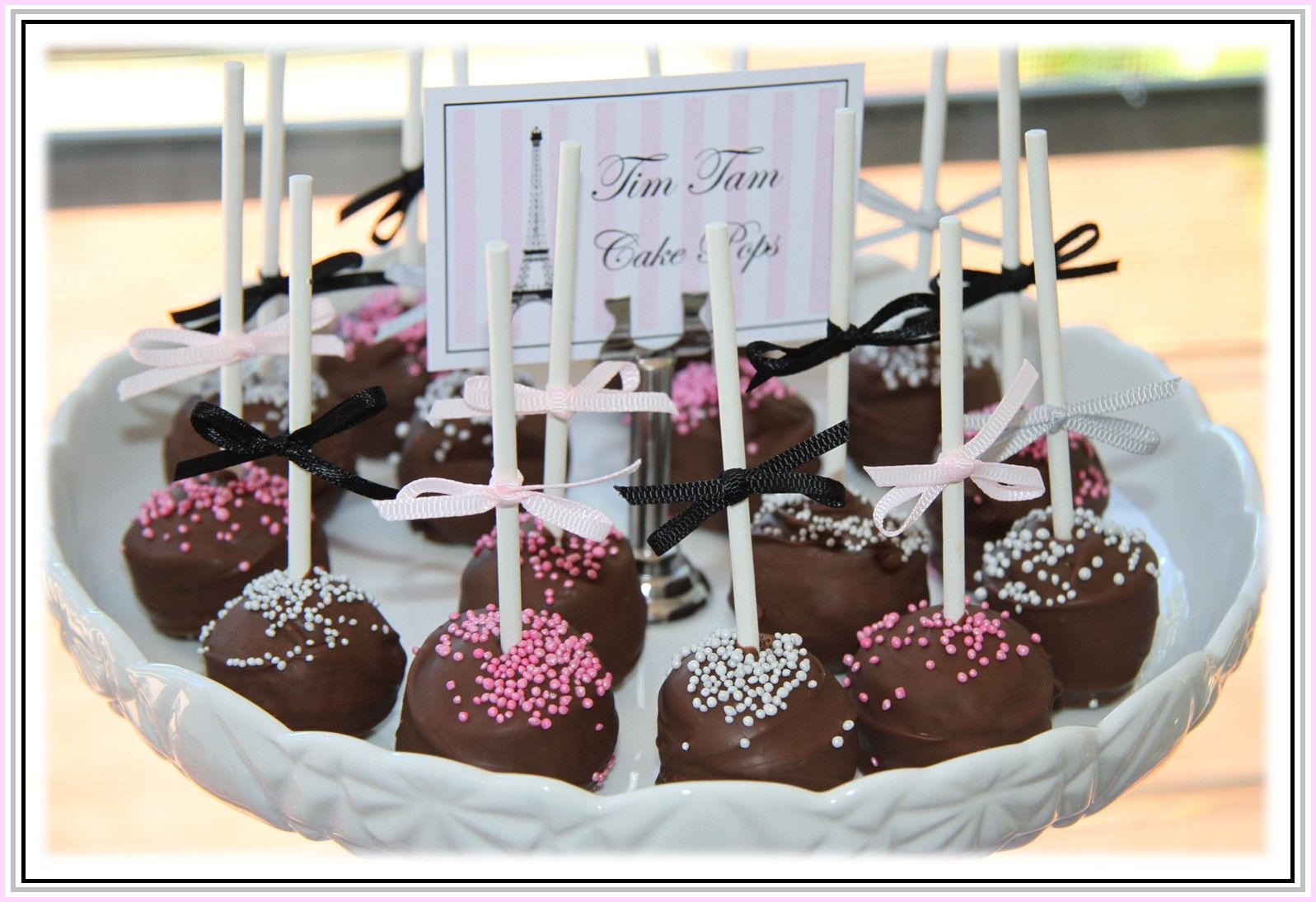 midnight in paris  cake | These Tim Tam Cake Pops where delicious.