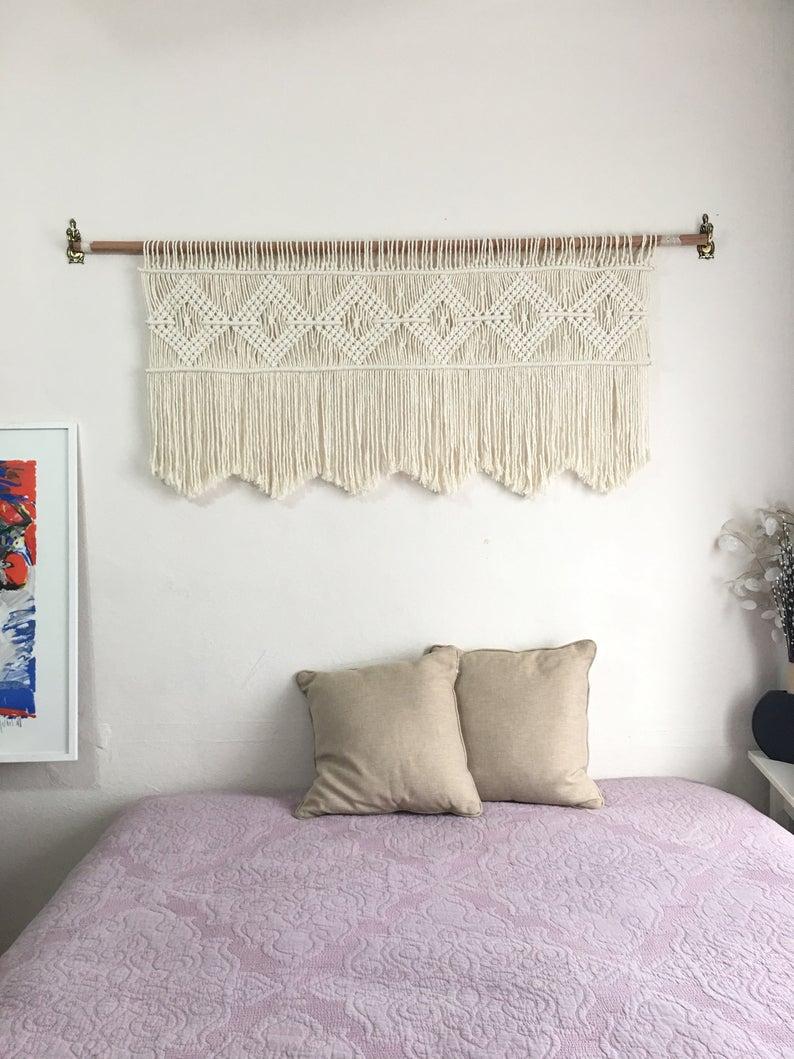 Macrame Headboard Wall Hanging Textile Home Decor Bohomian Wall Art Window Wall Decor Wall Decor Bedroom Headboard Wall
