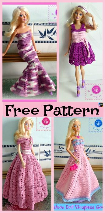 6 Pretty Crochet Doll Dress Free Patterns Crochet Pinterest