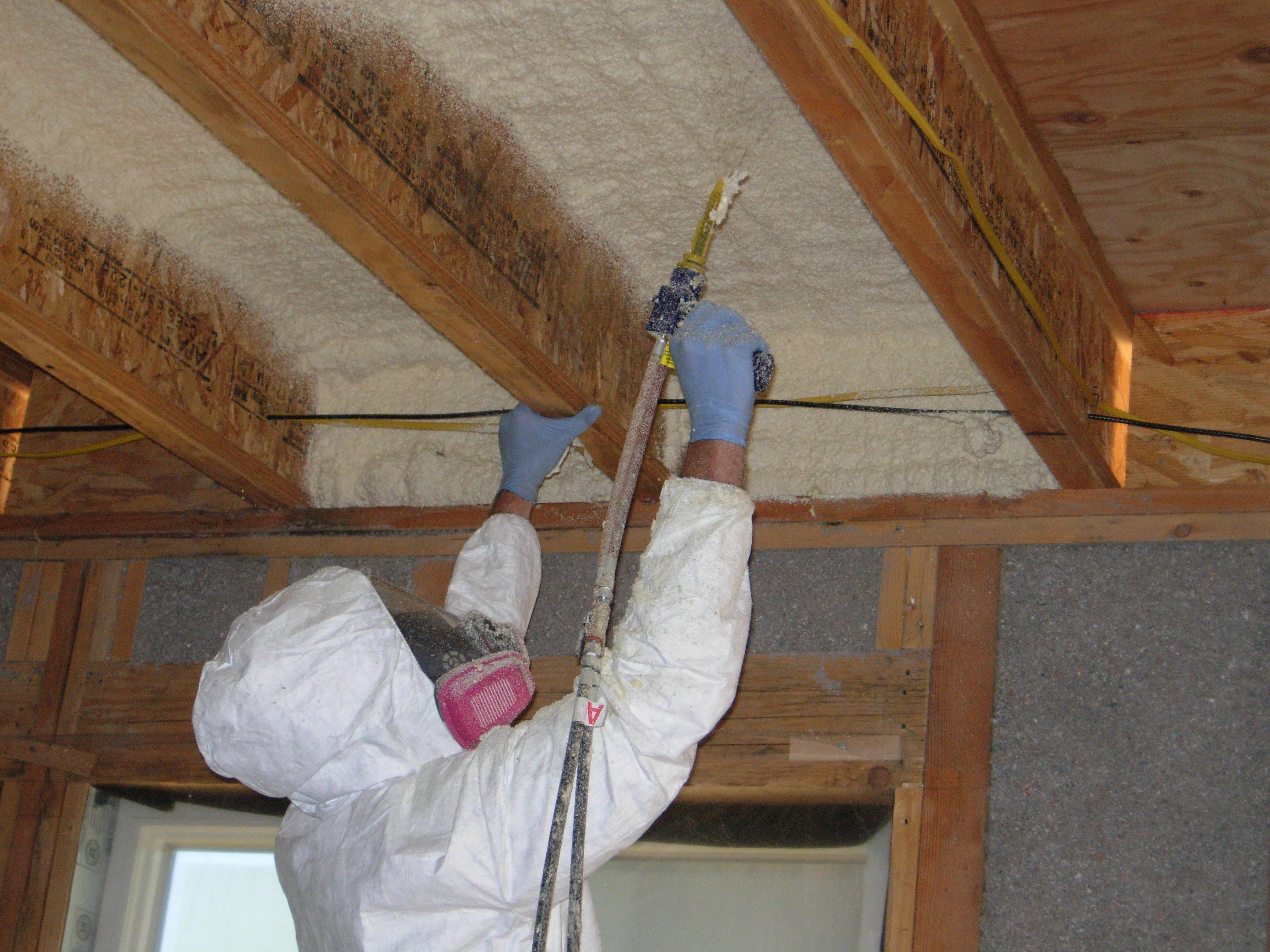Spray Foam Insulation A Good Option For Flat Roofs And Vaulted Ceilings With No Attic Sp Garage Ceiling Insulation Attic Stair Insulation Basement Insulation
