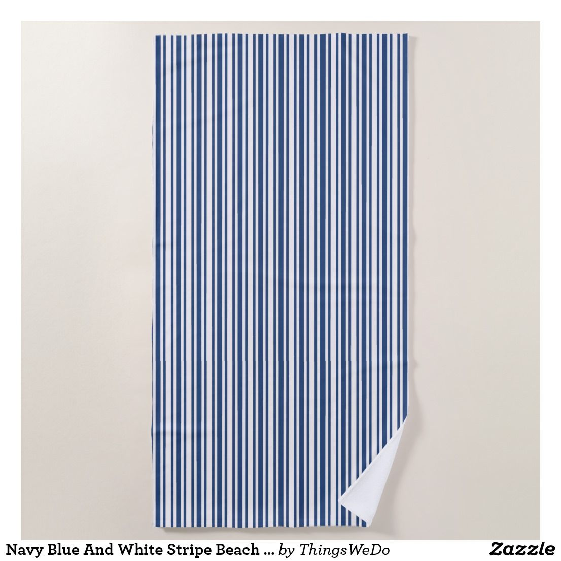 Navy Blue And White Stripe Beach Towel Zazzle Com With Images