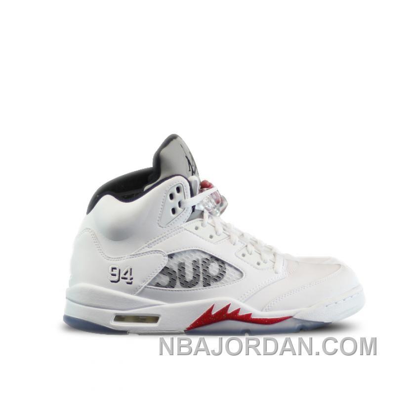 e64deb8c7a8 Authentic 824371 101 Air Jordan 5 Retro Supreme White Fire Red Black
