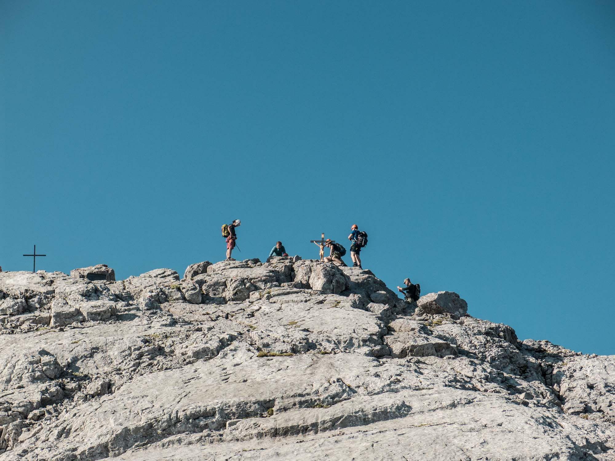 Klettersteigset Watzmann : Der erste watzmann gipfel auf watzmannüberschreitung ist das