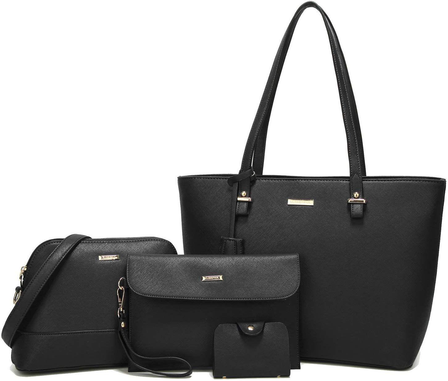 Leder Damentasche Groß Shopper Bag Handtasche Schultertasche Tragetasche Schwarz