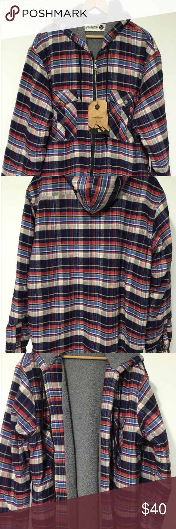 Flannel jacket with wool lining  Stone mountain faux fur lined flannel jacket nwt  My Posh Closet