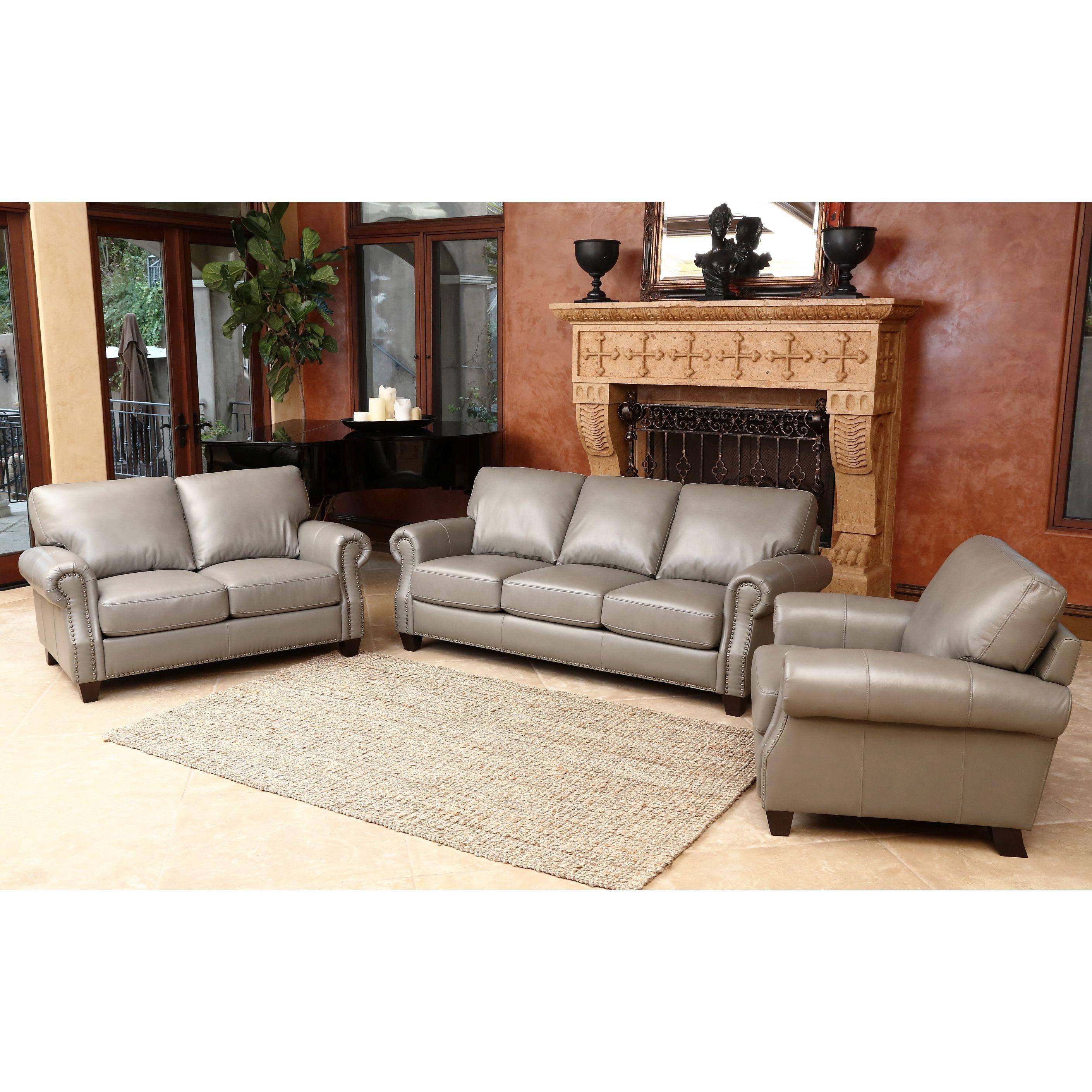 Best Abbyson Landon Top Grain Leather 3 Piece Living Room Set 400 x 300