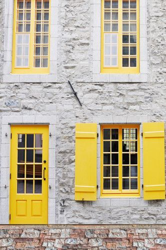 Canary Yellow Door Open Shutter Window Backdrop 6259