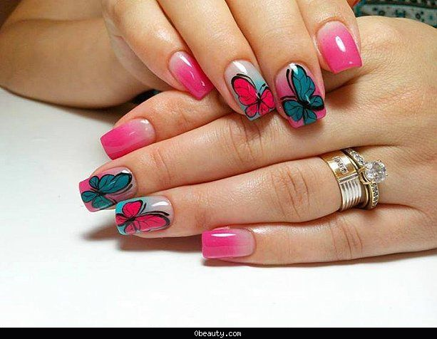 Latest Gorgeous butterfly nailart collection for eid 2016-2017 ...