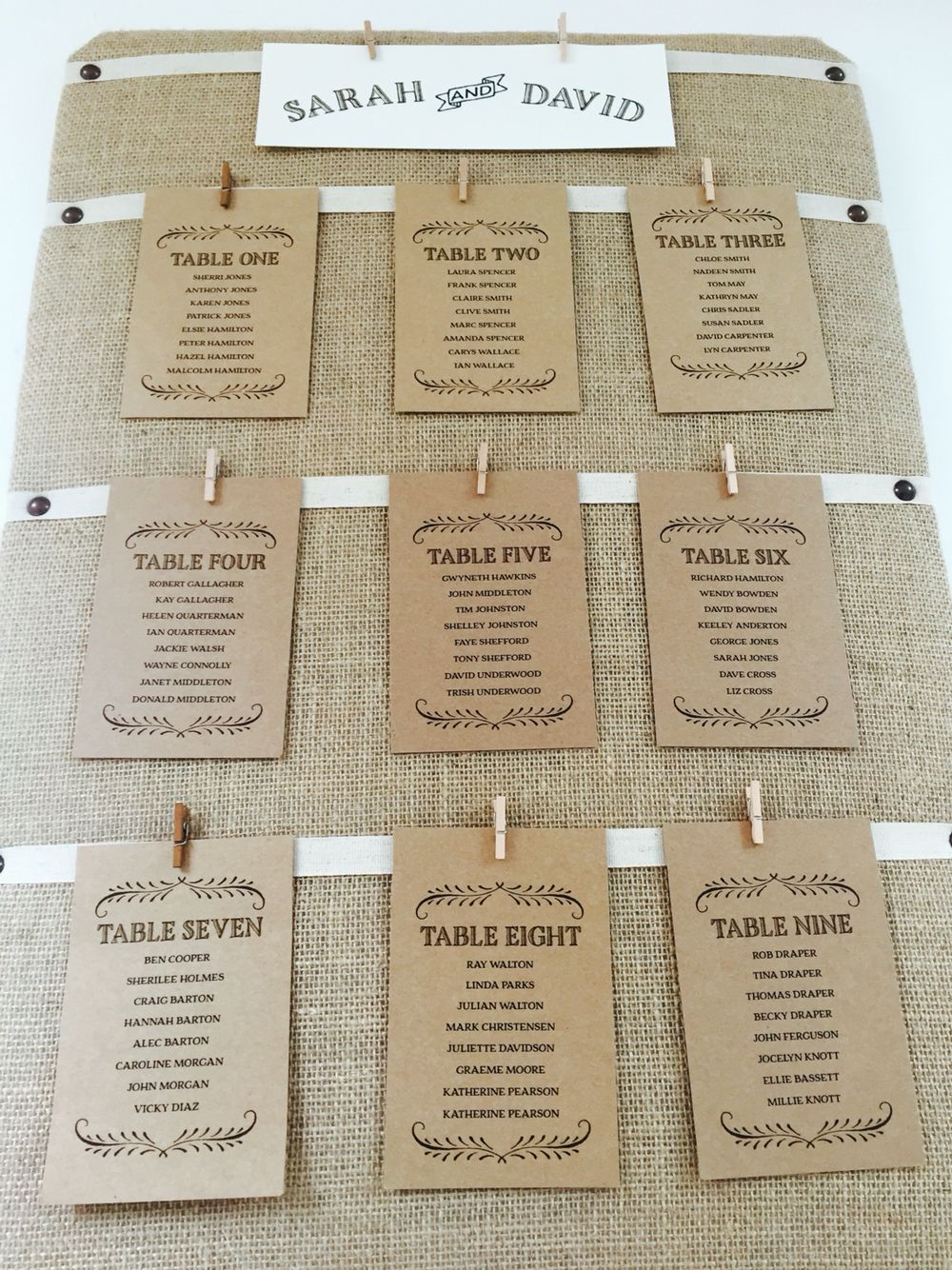 Hessian Table Plan With Brown Table Plan Cards Clock Barn