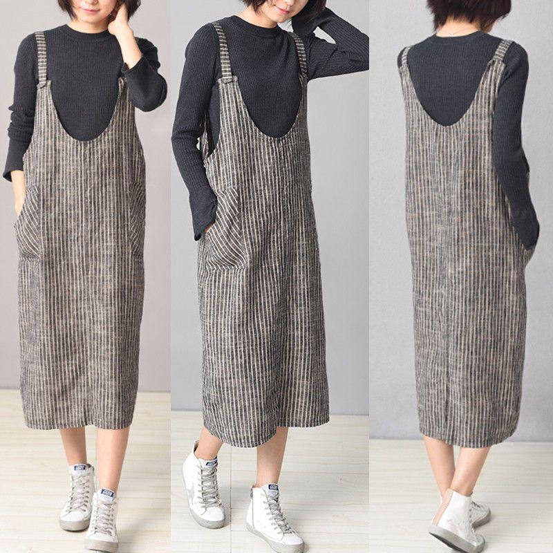 b60ec82ced £6.35 GBP - Uk 8-24 Women Sleeveless Tunic Baggy Dungarees Stripe Ladies  Pinafore Midi Dress  ebay  Fashion