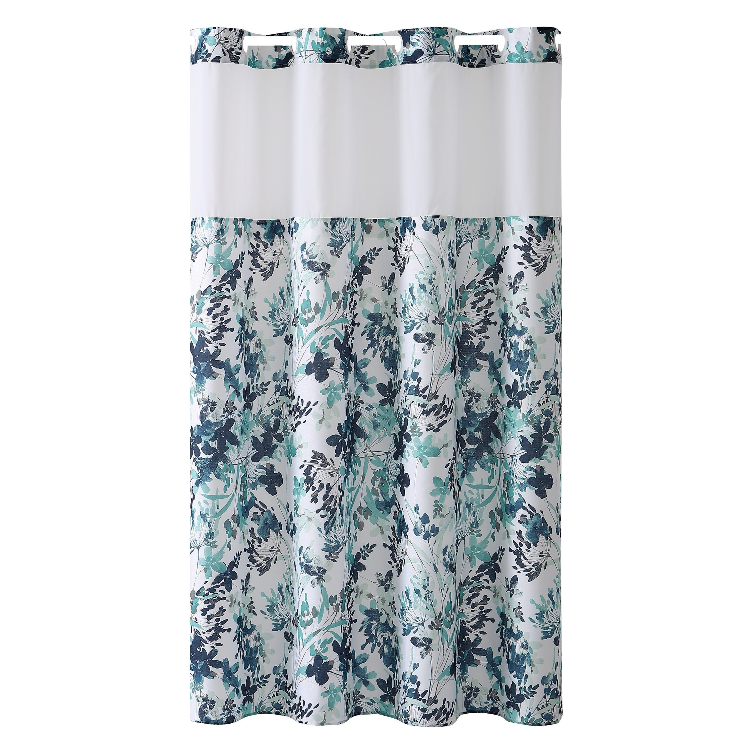 Hookless Shower Curtain Water Color Floral Print Aqua Blue