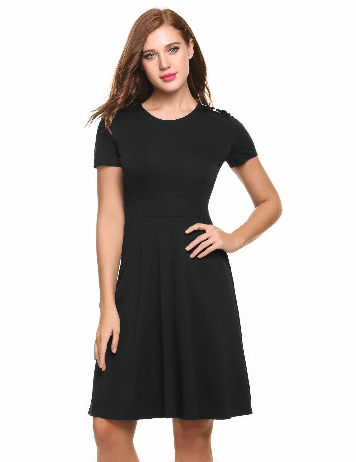 Black short sleeve solid shoulder button fit and flare