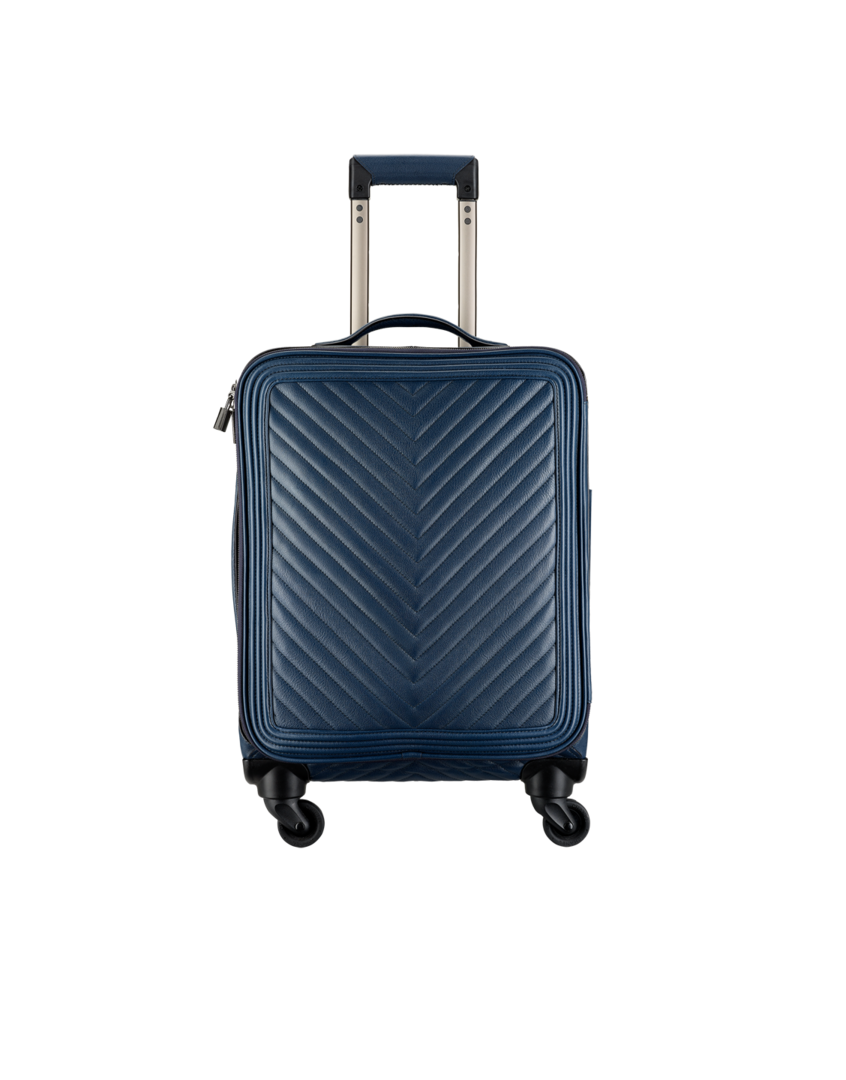 Trolley, grained calfskin   ruthenium metal-navy blue - CHANEL ... a5c9673681