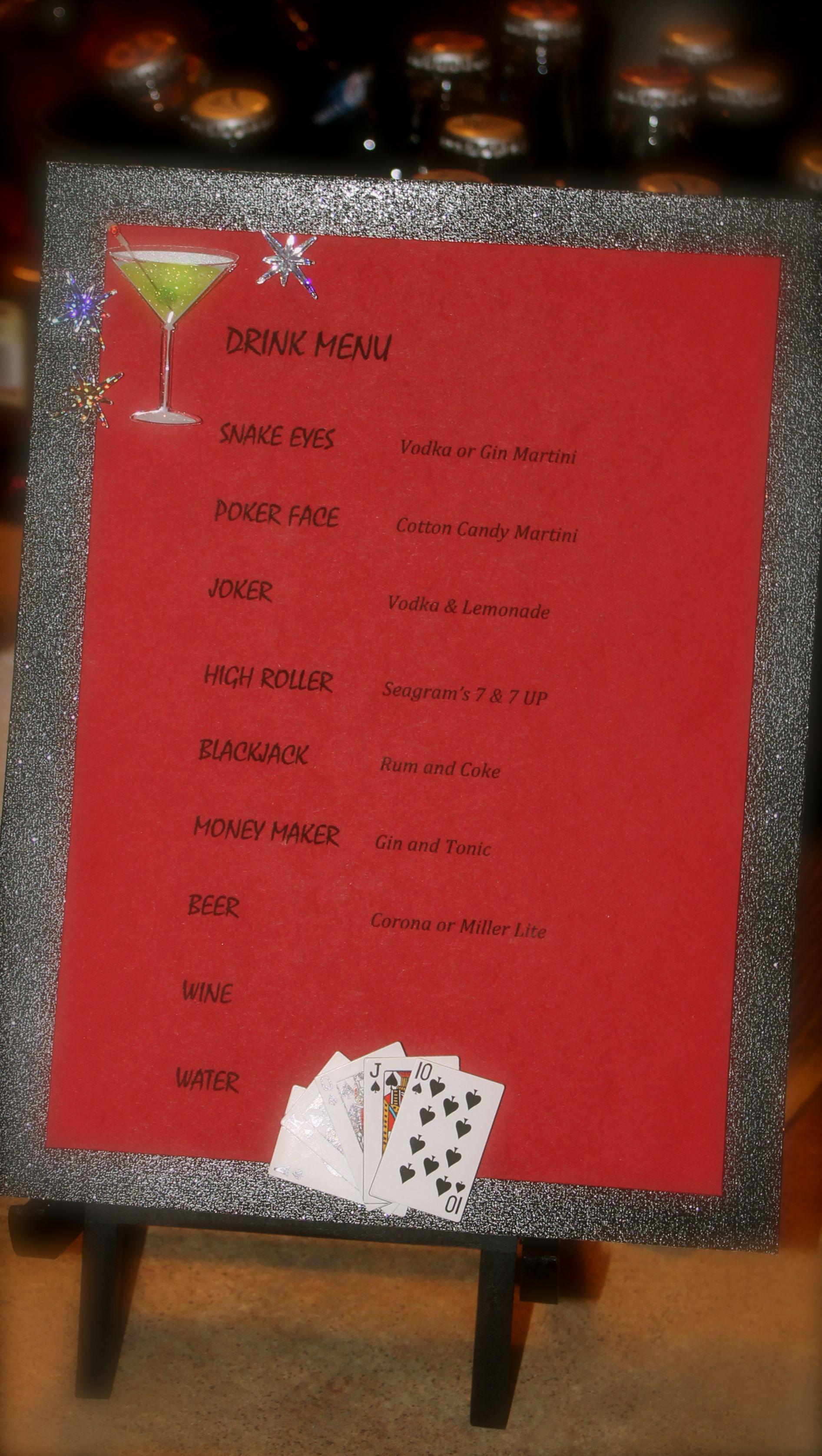 casino poker or gambling drink menu glitter black card