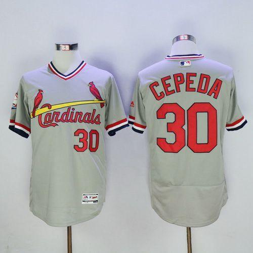 Men's St. Louis Cardinals #30 Orlando Cepeda Retired Gray Pullover 2016 Flexbase Majestic Baseball Jersey