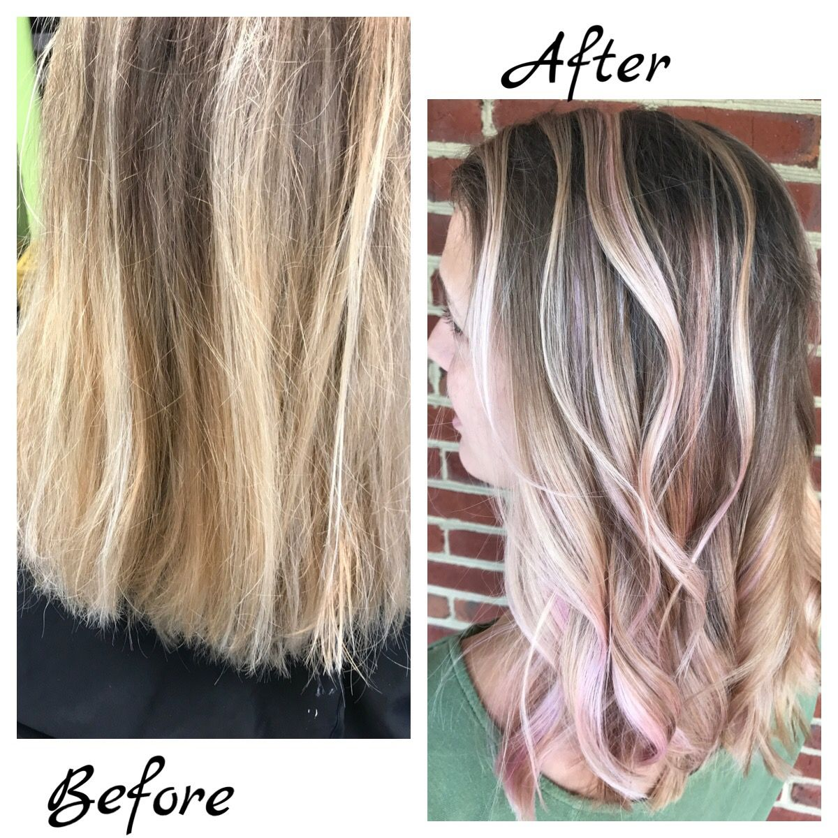 Hair By Nikki Beforeafter Tangledupsalonvb Hair Haircolor Rosegold Beauty Virginiabeachhair Haircut St Hair Powder Hair Styles Haircuts For Curly Hair