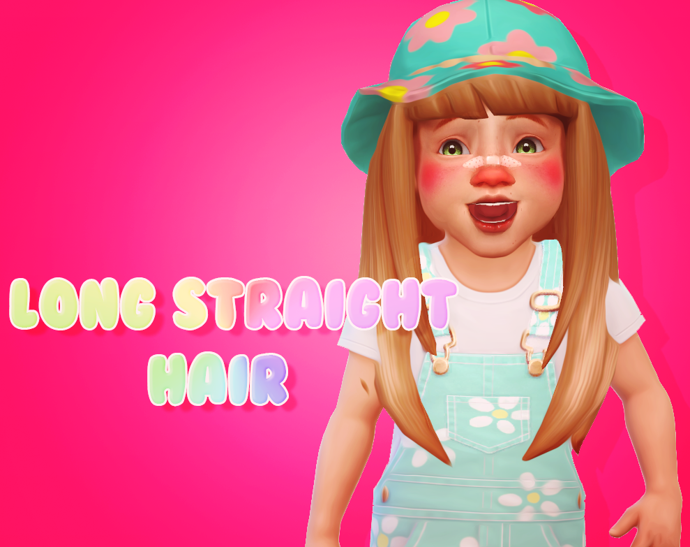 Long Straight Hair • Male & Female • EA Swatches • Hat Compatible DOWNLOAD