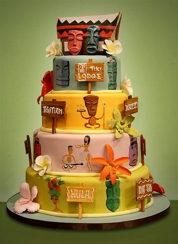 Enchanted tiki room inspired wedding cake Disney Party Planning