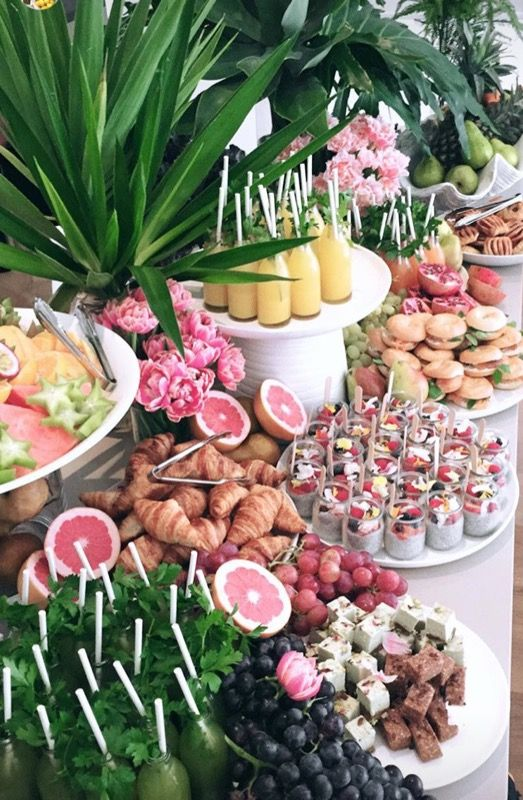 Tropical Food Table #Party #Decor #tropicalbirthdayparty