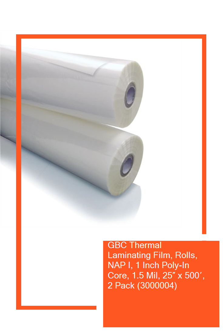 Gbc Thermal Laminating Film Rolls Nap I 1 Inch Poly In Core 1 5 Mil 25 X 500 2 Pack 3000004 Guard Thermal Packing Poly