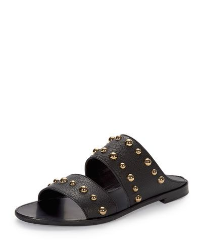S0BXW Lanvin Studded Leather Two-Band Mule, Black