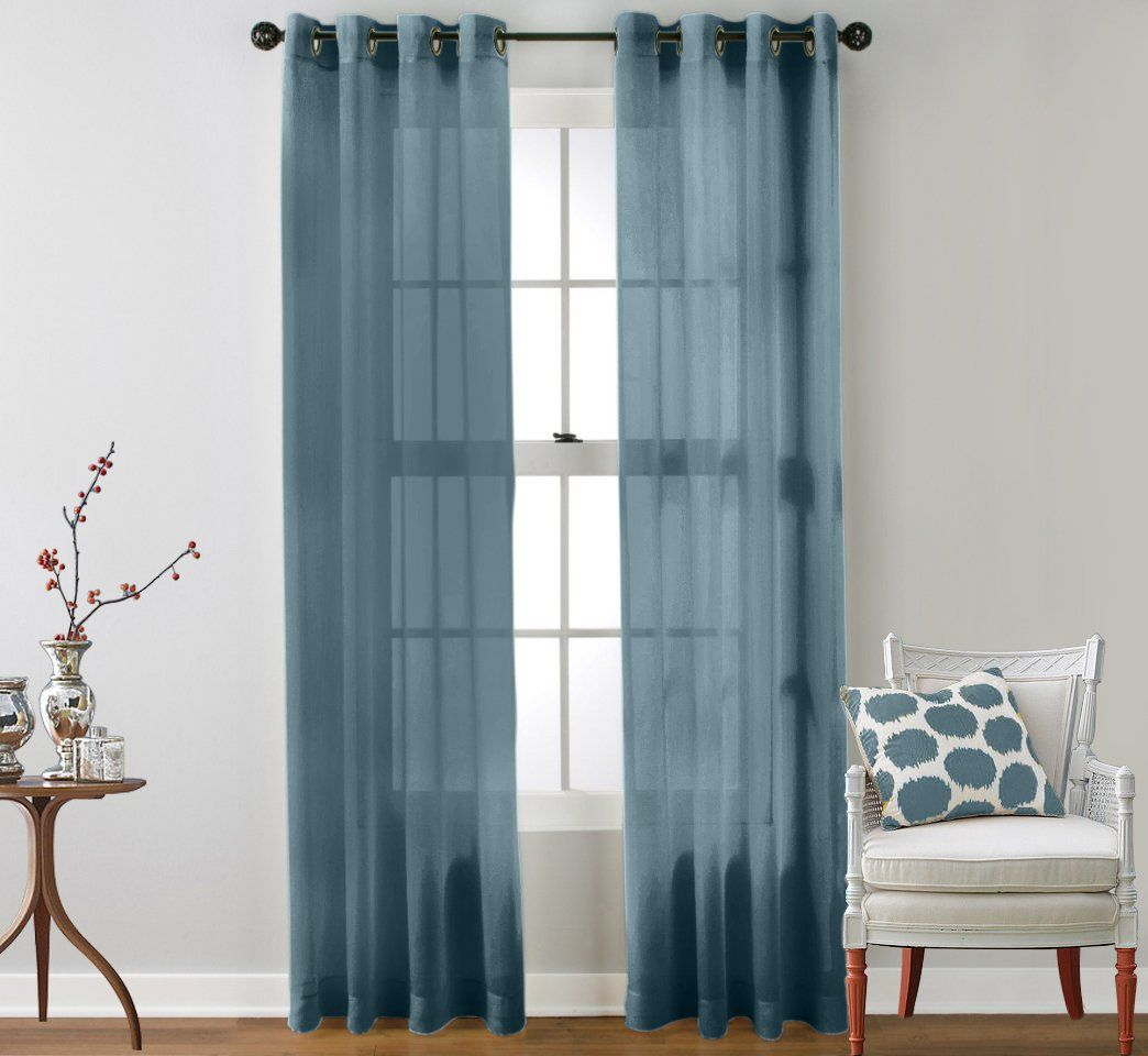 Threshold linen grommet sheer curtain panel product details page - Me 2 Piece Sheer Window Curtain Grommet Panels Dusty Blue 84