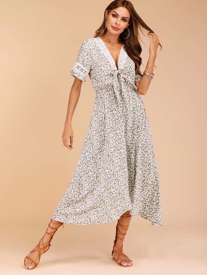 d622c79605 Shein Ditsy Floral Contrast Crochet Tie Front Dress | Products in ...